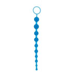 Синяя анальная цепочка с кольцом ORIENTAL JELLY BUTT BEADS - 26,6 см.