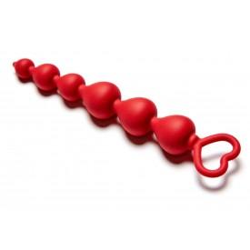 Бордовая анальная цепочка Heart Ray - 17,5 см.